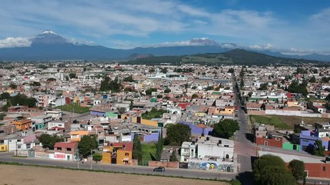 Cholula Mexico flying over beautiful city in Puebla aerial Footage