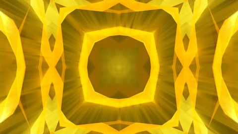 Kaleidoscope gold jewelry pattern background. 3d rendering. Seamless loop
