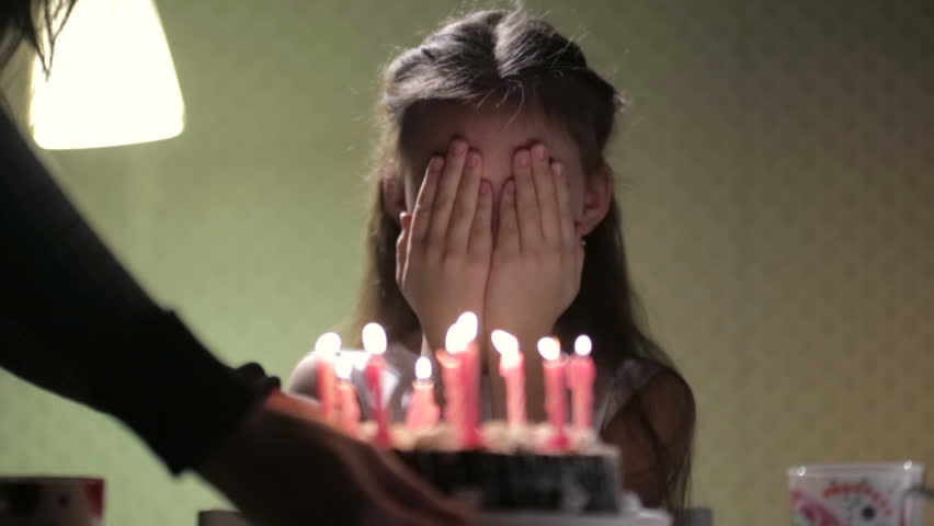 Birthday girl and cake with candles | Shutterstock HD Video #3092425