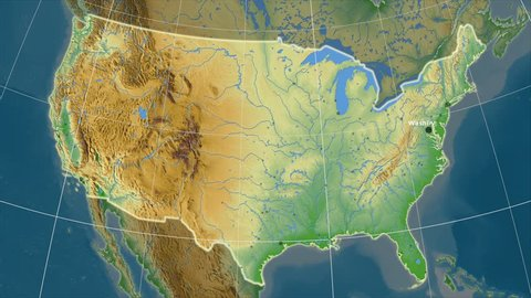 The United States Mainland area map in the Azimuthal Equidistant projection. Layers of main cities, capital, administrative borders and graticule. Colored physical map