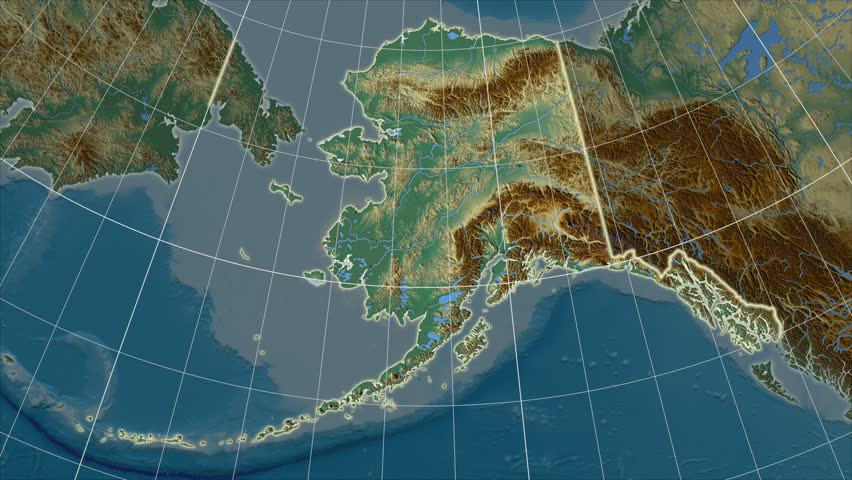 The United States Alaska area map in the Azimuthal Equidistant projection. Layers of main cities, capital, administrative borders and graticule. Relief map