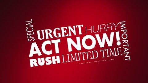 Act Now Limited Time Offer Hurry Words 3d Animation
