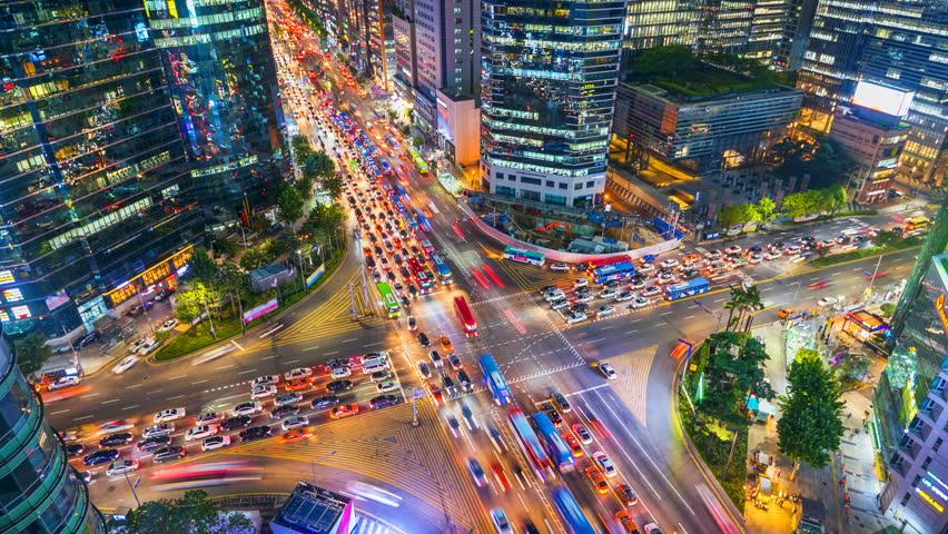 Timelapse Traffic at night in Gangnam City Seoul, South Korea | Shutterstock HD Video #30977425