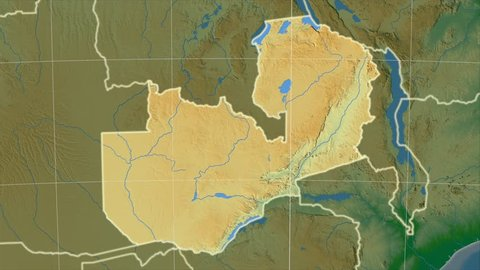 The Zambia area map in the Azimuthal Equidistant projection. Layers of main cities, capital, administrative borders and graticule. Colored physical map