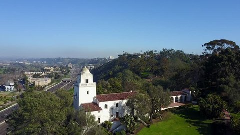 San Diego - Junipero Serra Museum - Drone Video Aerial Video of Junipero Serra Museum in Presidio Park. A Spanish Revival-style structure built to showcase the collection of the San Diego.