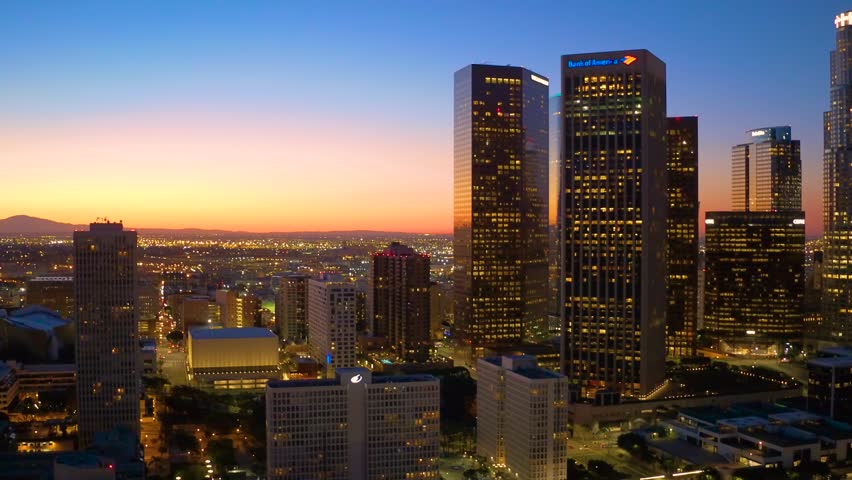 Down Town Los Angeles aerial view drone sun set | Shutterstock HD Video #30999370