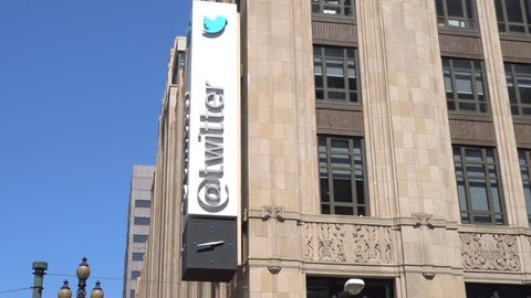 SAN FRANCISCO, CA/USA - JULY 30, 2017: Twitter world headquarters sign and logo. Twitter is an online news and social networking service.