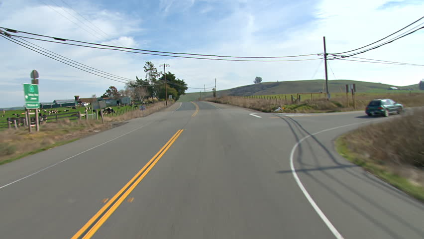 First-person driving POV shot, traveling south and east on Valley Ford Road
