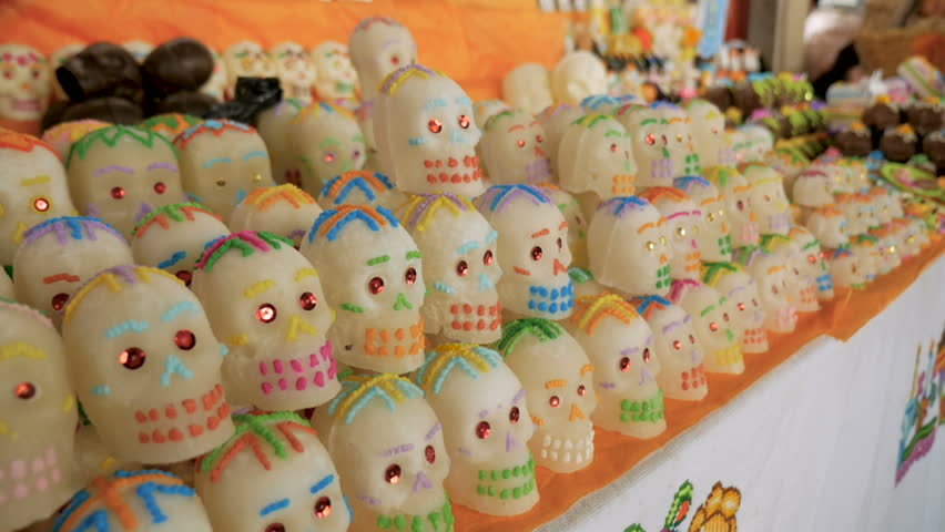Rows of sugar skulls for sale on display for Day of the Dead in Patzcuaro, Mexico