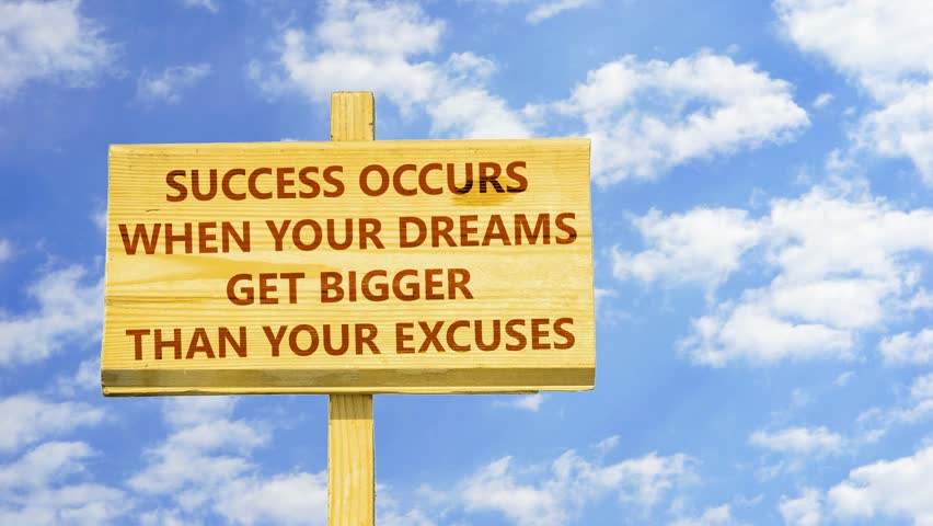 Success occurs when your dreams get bigger than your excuses. Words on a wooden sign against time lapse clouds in the blue sky. | Shutterstock HD Video #31046215