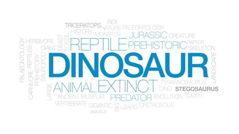 Dinosaur animated word cloud, text design animation. Kinetic typography.