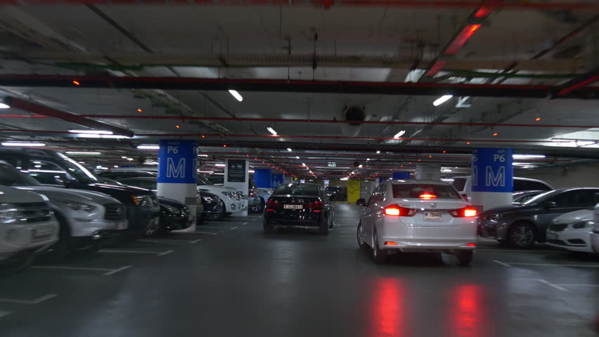 dubai mall parking pov driving car front view panorama 4k uae
