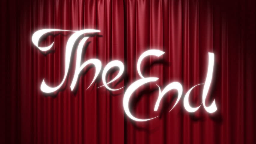 """closing red curtain with a title """"the end"""", 3d animation"""
