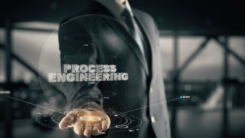 Process Engineering with hologram businessman concept