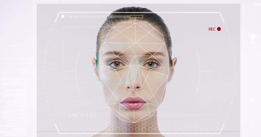 Futuristic and technological scanning of the face of a beautiful woman for facial recognition and scanned person. It can serve to ensure personal safety. Concept of:  future, security, scanning. | Shutterstock HD Video #31120645