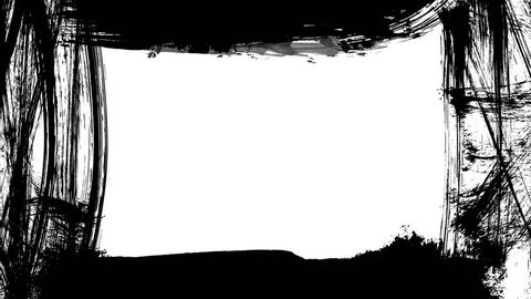 Animation grunge - brush stroke on a white background. Abstract hand - painted element. Grunge brush strokes animation. Underline and border design. Seamless looping background. 4K