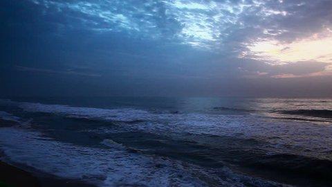Zoom in shot of an ocean at sunset, Mahabalipuram, Kanchipuram District, Tamil Nadu, India