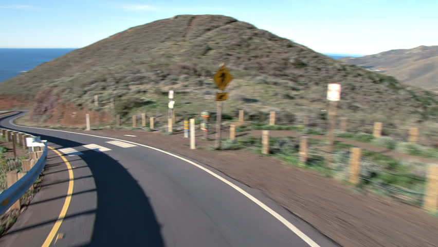 Heading down the 18% grade of the Conzelman Rd. to Point Bonita, on the Marin Headlands, Golden Gate National Parks, California