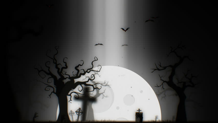 Halloween spooky animation background motion graphics footage (black and white theme), with the spooky tree , moon , bats , zombie hand and graveyard.