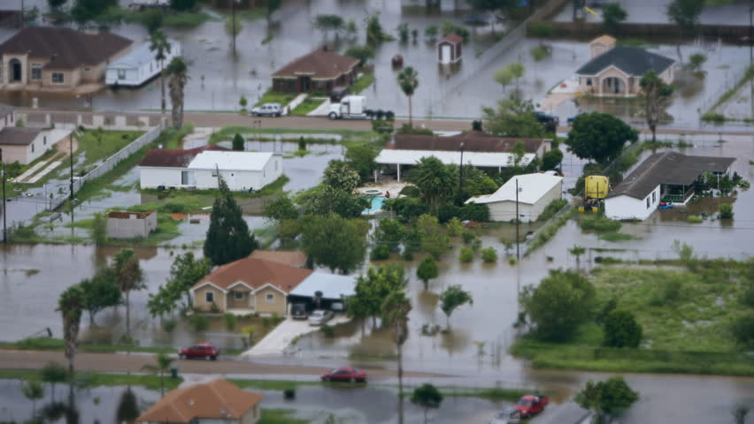 Depiction of flooding after a hurricane. Suitable for showing the devastation wrought after storms like Hurricane Irma, Harvey and Maria make landfall. 4K UHD. | Shutterstock HD Video #31180045