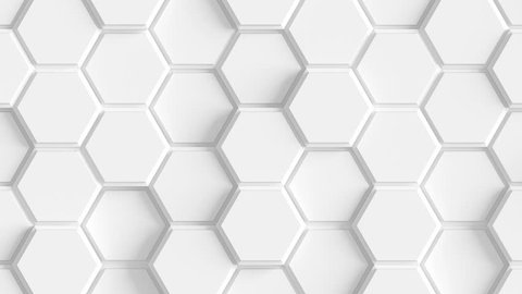 Abstract Hexagon Geometric Surface Loop 2A: light bright clean rounded beveled hexagonal grid pattern, waving motion background canvas in pure wall architectural white. Seamless loop 4K UHD FullHD.