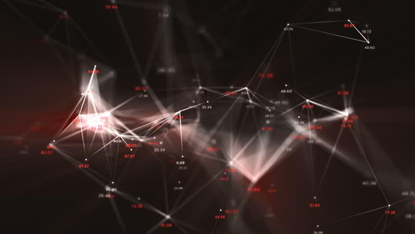 Digital Data Points Network Loop 1D: dark background, rotating flickering white light mesh cloud of connections, random percentage number in fire orange hot ruby red. Seamless loop 4K UHD FullHD.