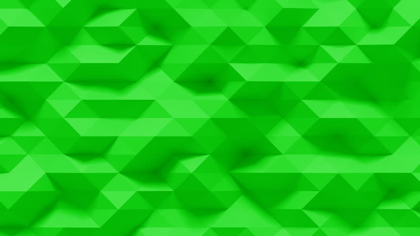 Abstract Polygonal Geometric Surface Loop 4G: green clean soft low poly motion background of shifting small triangles in sensible fresh natural lime spa aloe leaf green. Seamless loop 4K UHD FullHD.