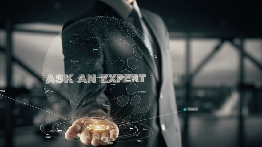 Ask an Expert with hologram businessman concept