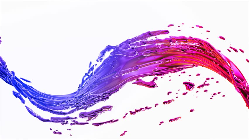 cg animation of colorful paint splash on white background. Looping liquid wave,  Color Powder flow Spinning motion, Alpha matte, slow motion, rapid, seamless loop, cg.