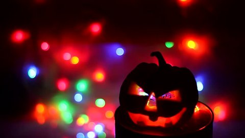 halloween pumpkins with colorful light clips.happy halloween pumpkins laughing clips