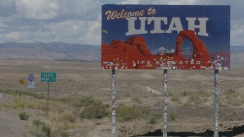 Welcome to Utah Sign on Interstate 15 at State-line on East Border with Colorado