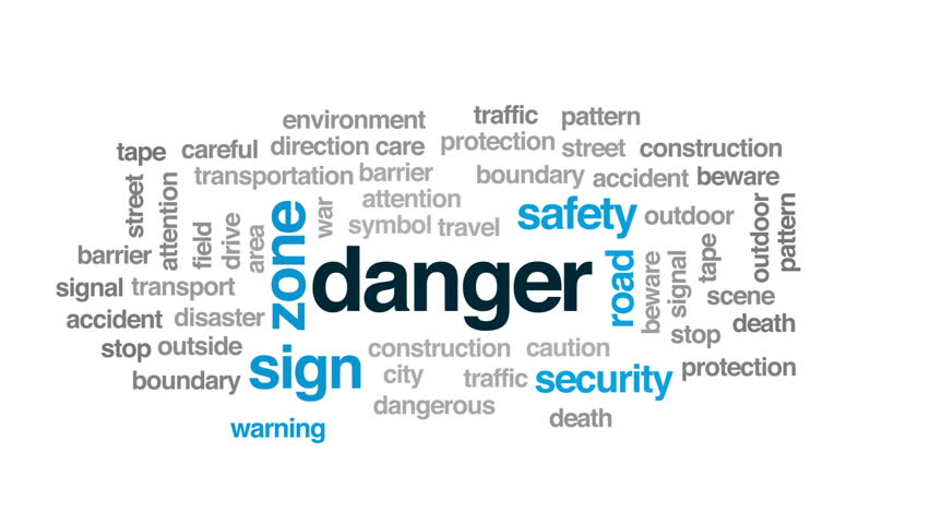 Danger animated word cloud, text design animation. #31315477