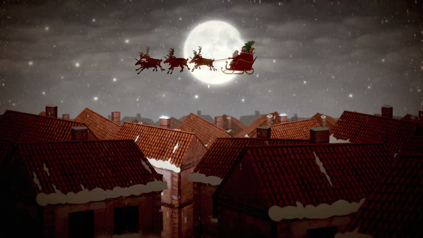 3D Animation : Santa Claus Trying To Take Off Stock