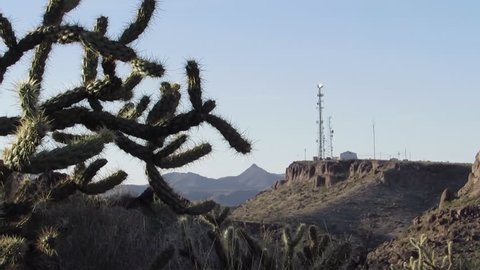 Cholla cactus and scenic canyon mountain view in the eastern edge of the Mojave desert near downtown Kingman Arizona.  Cell phone radio communication towers seen in the distance.