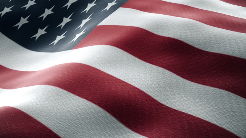 Closeup of a waving american flag looping