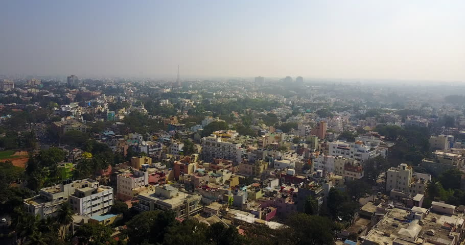 Aerial view of Rooftops in Bangalore city in India