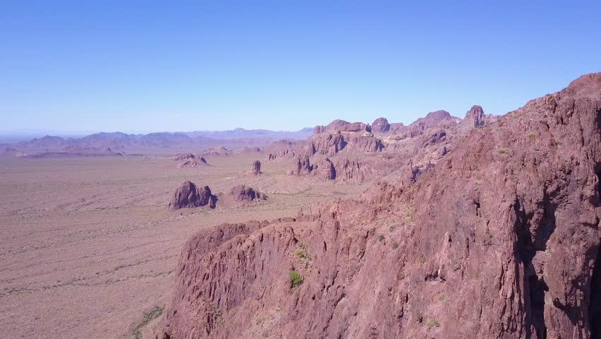 CIRCA 2010s - Sonoran Desert, Arizona - An aerial over the barren and high peaks of the Sonoran Desert in Arizona.