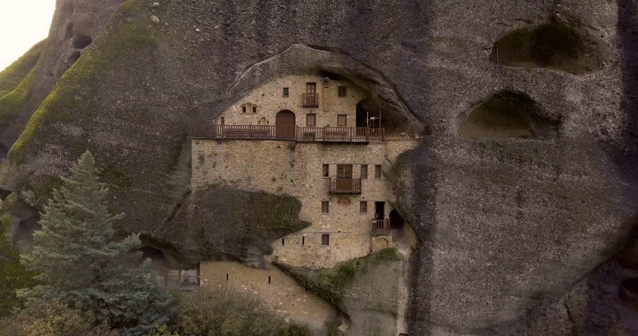 CIRCA 2010s - Meteora, Grece - Beautiful aerial over the rock formations and monasteries of Meteora, Grece.