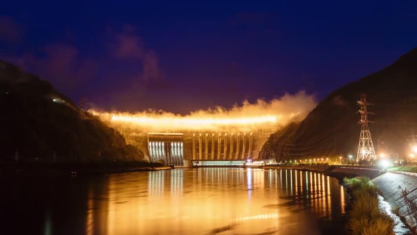 Dam of Sayanoshushenskaya hydroelectric power station on the Yenisei River Russia, Siberia, night shooting, time-lapse video | Shutterstock HD Video #31385695