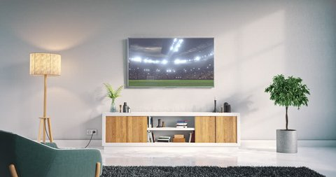 Footage of a living room led tv on white wall with wooden table and plant in pot showing soccer game moment on 3D rendered sports stadium.