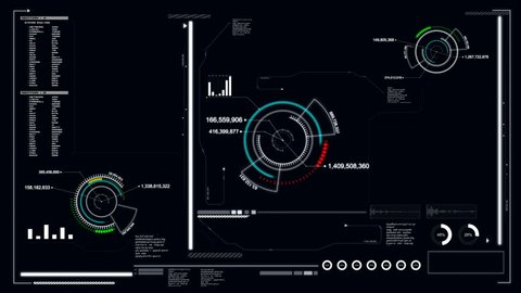 4K Animation User interface with HUD graph bar pi with space for futuristic technology and cyber concept with alpha channel render