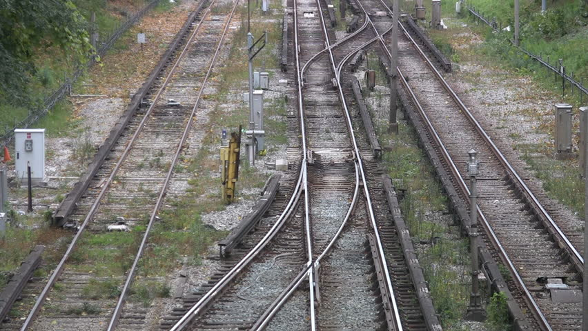 Two shots of empty train tracks. Toronto, Canada