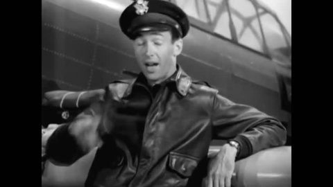 CIRCA 1940s - Jimmy Stewart narrates footage of war-torn Europe, encouraging viewers to sign up with the Air Force to prevent such destruction from happening in America in 1942.