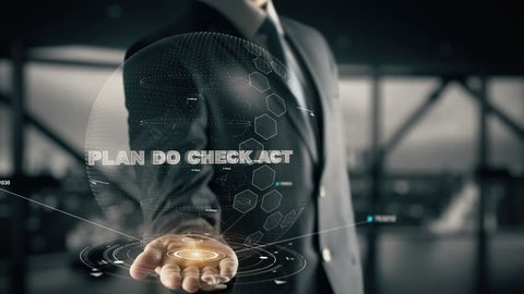 Plan do Check Act with hologram businessman concept