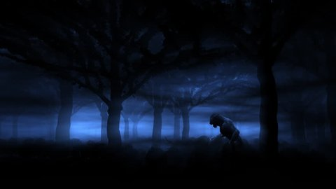 Howling Werewolf in the Forest/A werewolf runs through the night forest and howls.