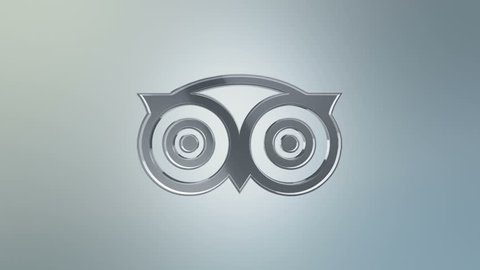 Editorial animation: 3d rotation of symbol of tripadvisor logo from glass   animation of seamless loop