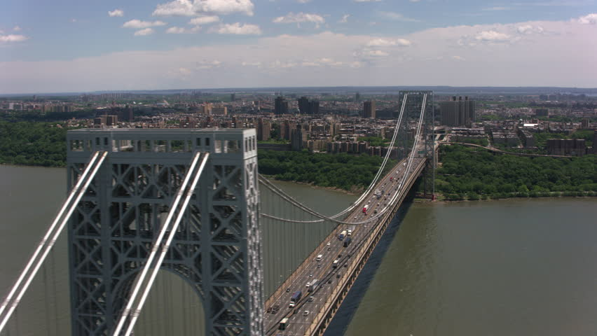 New York City, New York circa-2017, Aerial shot of the George Washington Bridge. Shot with Cineflex and RED Epic-W Helium.