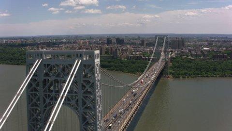 New York City, New York circa-2017, Aerial shot of the George Washington Bridge. Shot with Cineflex and RED Epic-W Helium.