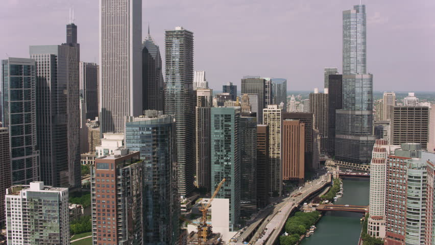 Chicago, Illinois circa-2017, Aerial approach to downtown Chicago from Chicago River. Shot with Cineflex and RED Epic-W Helium.
