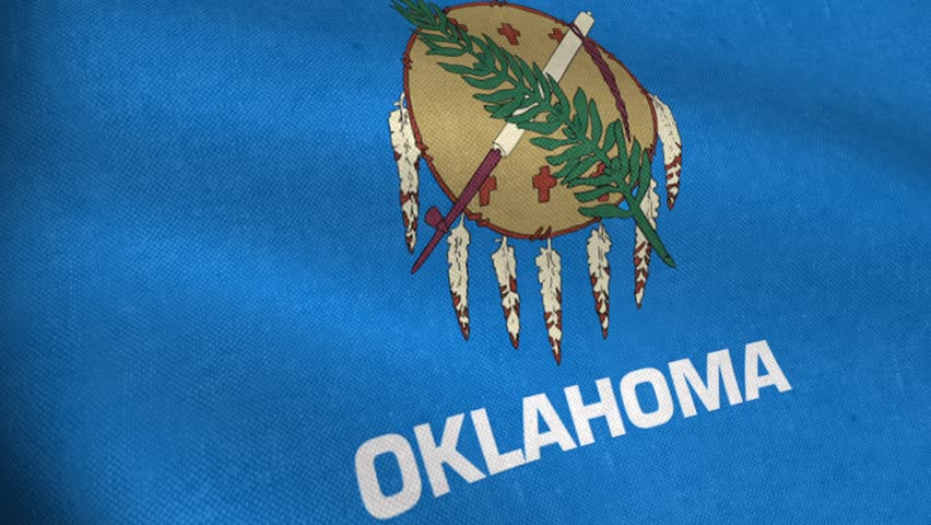 Realistic waving flag of Oklahoma (USA)